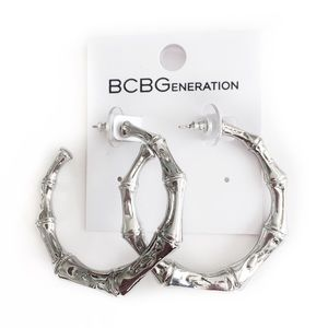 BCBGENERATION EARRINGS SILVER TONED HOOP LOOP BOHO